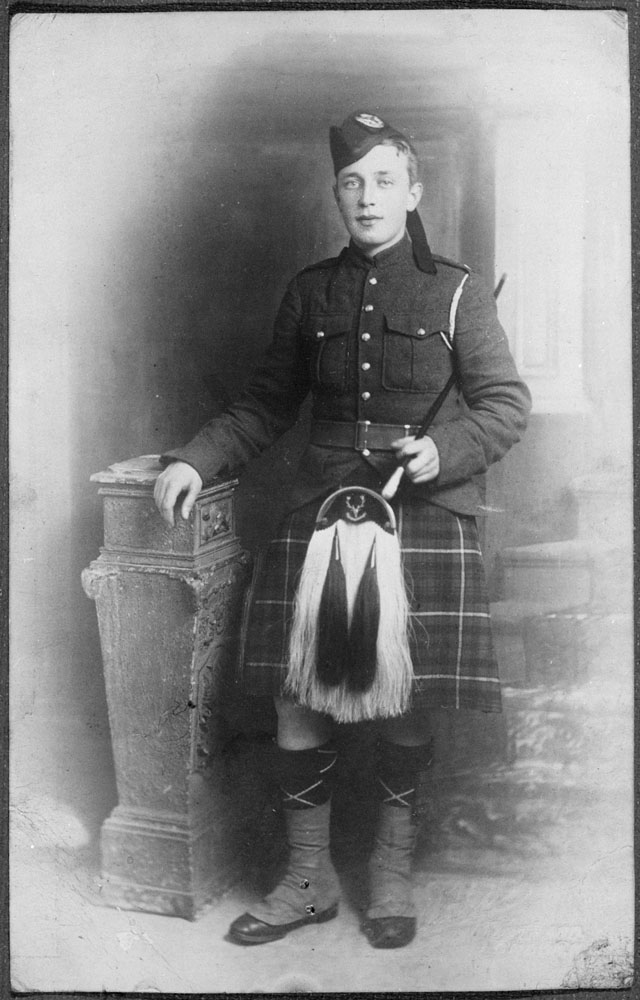 Young man in a kilt and sporran.