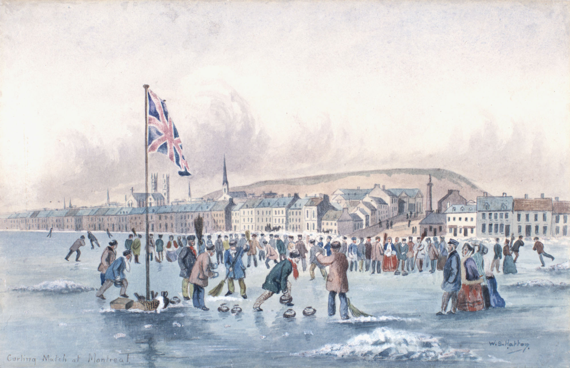 Curling Match at Montreal, Canada East by W.S. Hatton, 1855