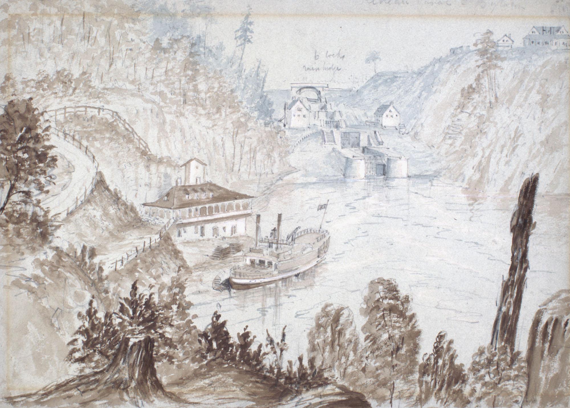 Aquarelle sur graphite, sur papier gris. Différentes teintes de brun sont utilisées au premier plan, et des gris-bleus en arrière-plan. Il s'agit d'une vue de très haut, surplombant les écluses à l'entrée du canal, où l'on aperçoit un bateau.