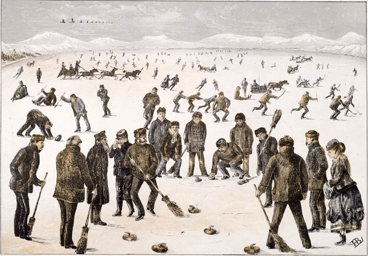 Photogravure titled CURLING ON THE LAKES, NEAR HALIFAX by Henry Buckton Laurence, 1867