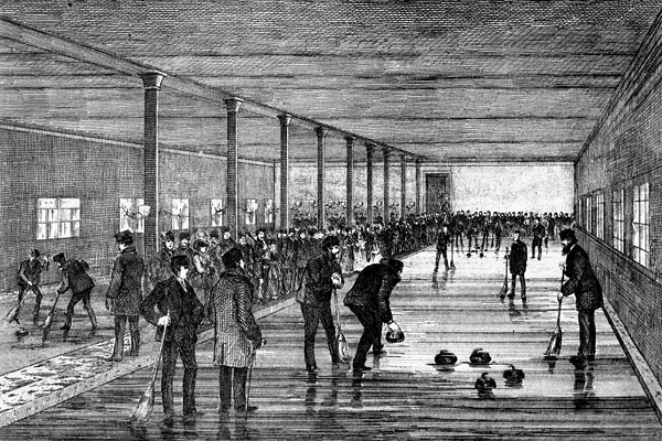 Illustration intitulée « Opening of the Thistle Curling Club Rink », Montréal, 1871