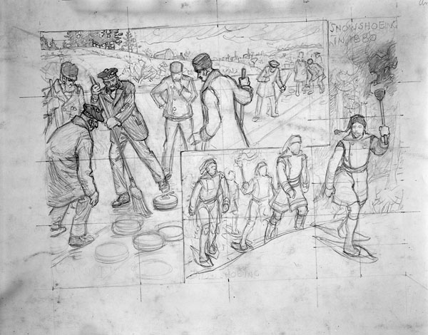 Dessin intitulé « Curling in 1875, Snowshoeing in 1880 » de C.W. Jeffreys