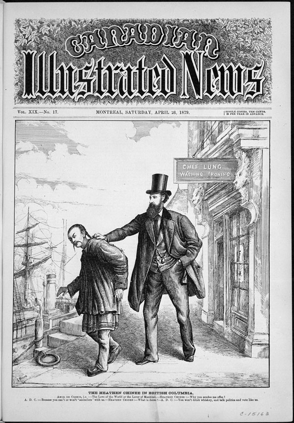 Cover of magazine with words, Canadian Illustrated News. Illustration shows Chinese man being forcefully directed to a ship by a tall man in top hat
