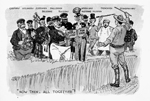 Political cartoon entitled NOW THEN, ALL TOGETHER!, published in the book LAURIER DOES THINGS: RECORD OF THE GOVERNMENT, 1896 TO 1904, DISPLAYED IN A SERIES OF CARTOONS, 1904