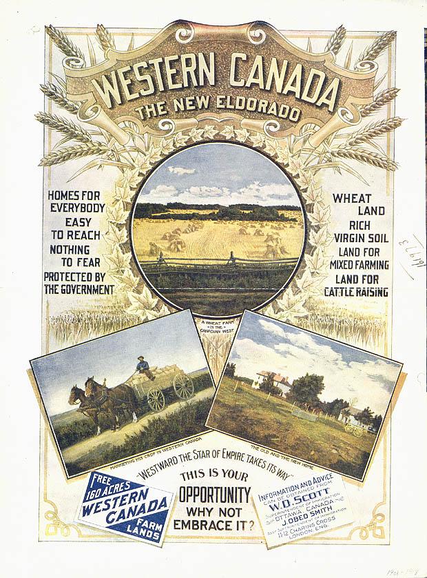 Poster entitled WESTERN CANADA THE NEW ELDORADO, circa 1908-1918