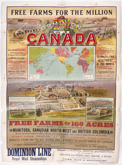 Poster entitled FREE FARMS FOR THE MILLION, depicting international immigration routes to Canada and agricultural opportunities in Manitoba, the North-West and British Coloumbia, circa 1890