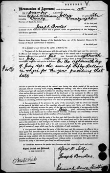 Memorandum of Agreement between A.W. Jollye and J. Bowles, December 12, 1892