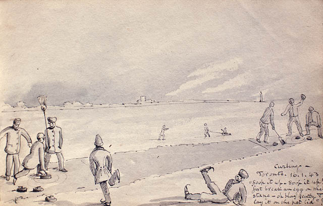 Ink drawing titled CURLING, TORONTO by James Edward Alexander, 1843