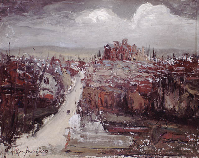 Albert (Somme) Route d'Amiens, 1920. Oil on plywood. 25.8 x 33.8 cm.