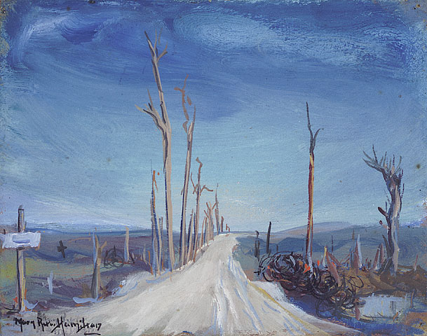 The Kemmel Road, Flanders, 1920. Oil on cardboard. 18.9 x 24.0 cm.