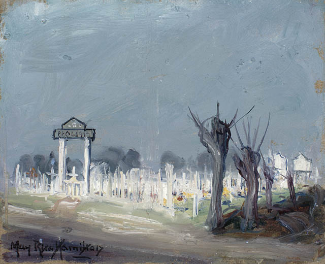 Painting: Princess Patricia's Canadian Light Infantry Cemetery, Voormezelle.