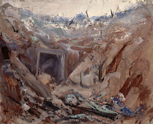 Dug Out on the Somme, 1919. Oil on cardboard. 35.2 x 44.4 cm.