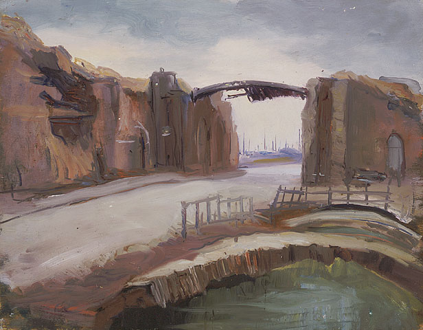 Lille Gate, Ypres, Looking Outwards, ca. 1921. Oil on plywood .45.5 x 58.3 cm.