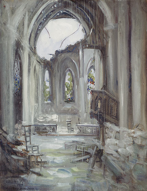 Interior of a Destroyed Church, Arras, 1919. Oil on board. 58.4 x 45.7 cm.