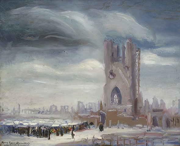 Market Among the Ruins of Ypres, 1920. Oil on plywood. 45.6 x 56.0 cm.