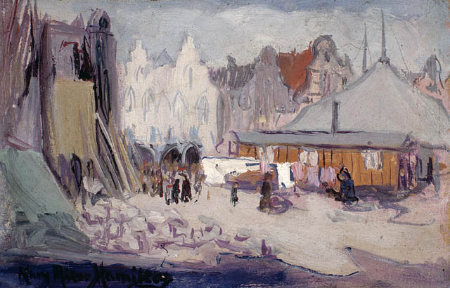 Grande Place, Arras, 1919. Oil on wood panel. 13.8 x 22.0 cm.