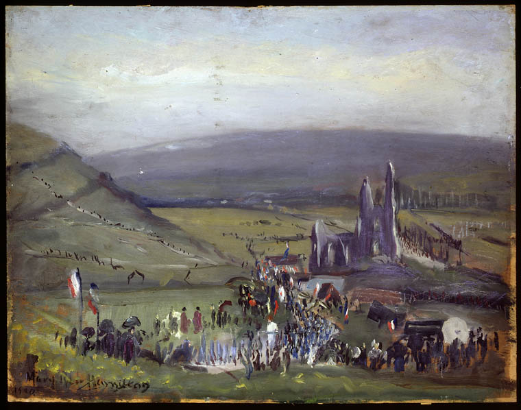 The First Pilgrimage to Notre Dame de Lorette after the War of 1914 - 1918, 1920. Oil on plywood. 45.5 x 58.3 cm.