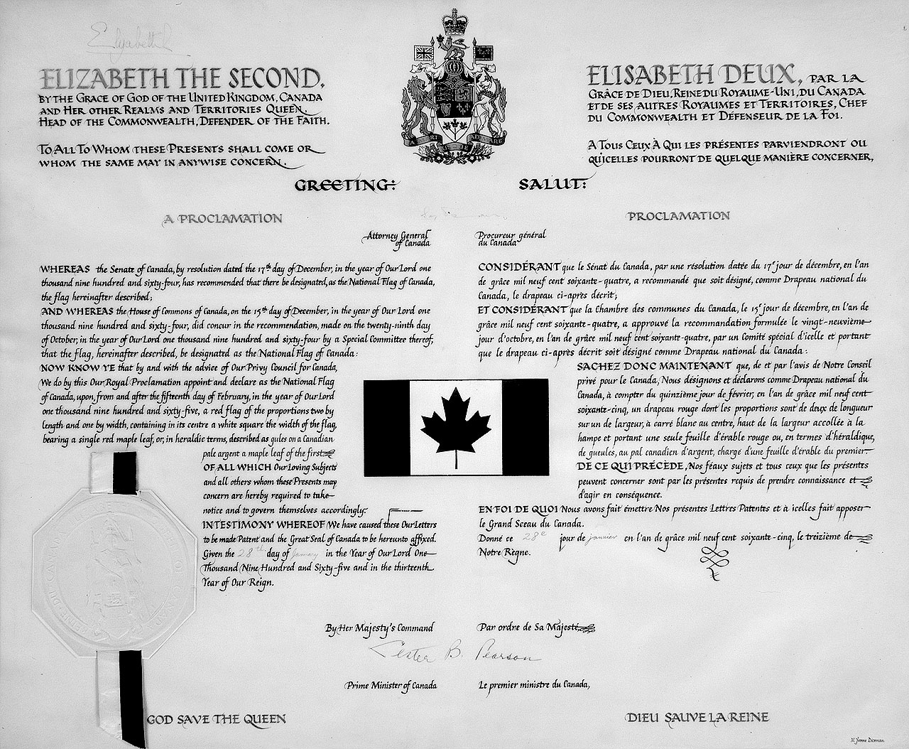 The stanley flag the canadian encyclopedia royal proclamationa digital image of the royal proclamation document that declares the red maple leaf flag as the national flag of canada biocorpaavc
