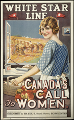Poster entitled CANADAS CALL TO WOMEN 1920s-1930s