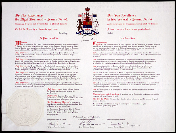 Image of the Constitution Amendment Proclamation, 1983, regarding the rights of the Aboriginal peoples of Canada, 1983