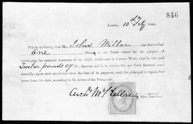 Share Certificate, 1860