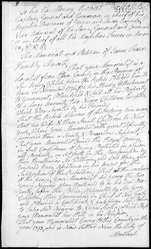 Petition of James Frazer