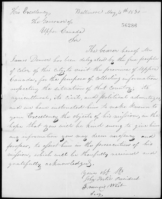Lettre en provenance de Baltimore, 1830