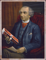 Sir John A. Macdonald holding a bar of N.P. soap