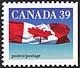Canada, 39¢ The flag, 12 January 1990