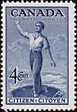 This stamp was issued to commemorate the passage of the Canadian Citizenship Act (1947)