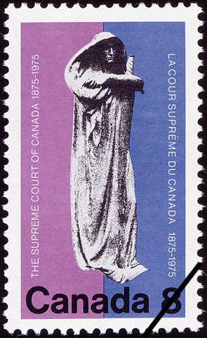 Postage stamp (1975) depicting a statue entitled JUSTITIA, in commemoration of the centennial of the Supreme Court of Canada, 1875-1975