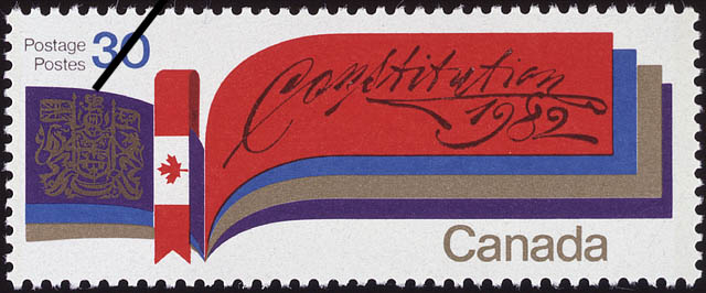 Postage stamp depicting stylized Canadian flag and coat of arms, commemorating the patriation of the Constitution, 1982