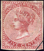 Timbre-poste de l'&#206;le-de-Vancouver repr&#233;sentant la reine Victoria, le 19 septembre 1865