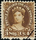 Postage stamp of Queen Victoria, from Prince Edward Island, June 1, 1870