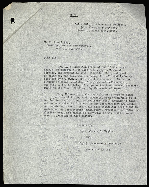 Letter to chairman of the War Council