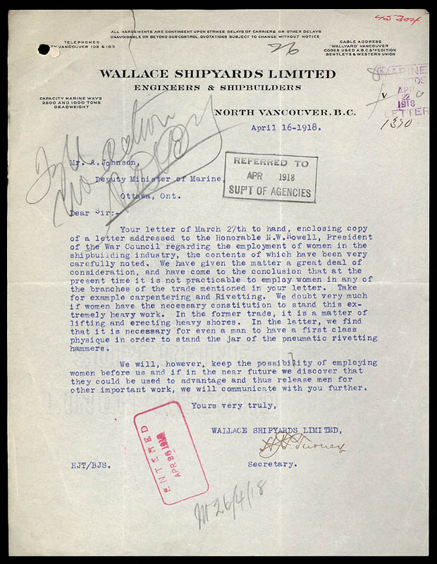 Letter from Wallace Shipyards.