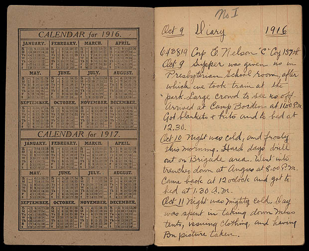 MG30-E459, diary from 01/10/1916 to 08/12/1916