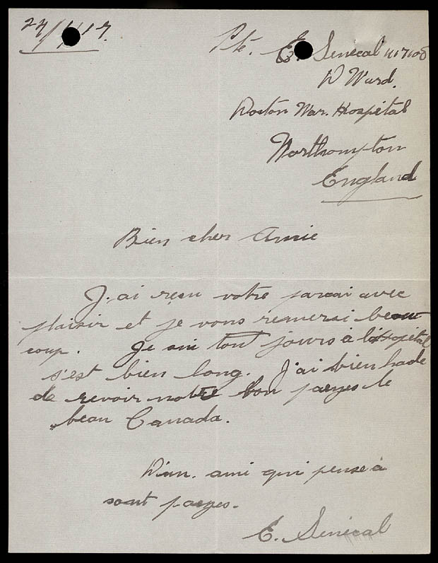 Letter from Soldier Édouard Sénécal