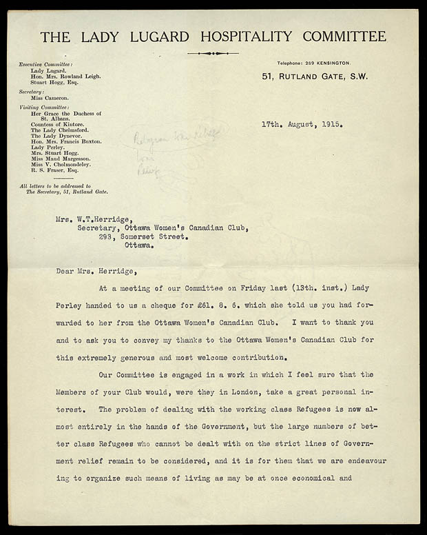 Letter from the Lady Lugard Hospitality Committee