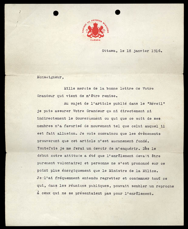 Letter from the Prime Minister Robert Borden
