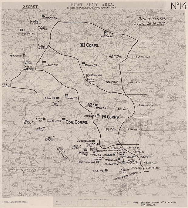 Map of the troop positions and numbers.