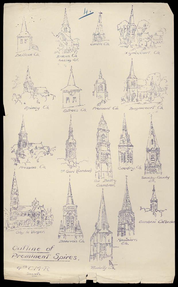 Sketches of church steeples