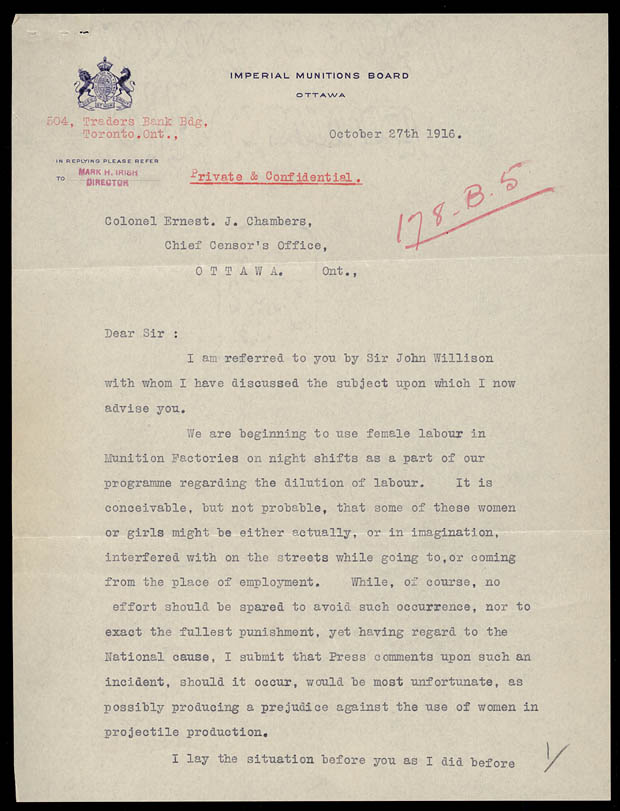 Letter from Mark Irish to Ernest Chambers
