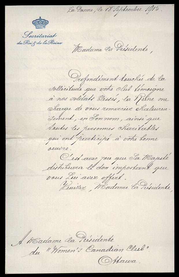 Letter from the Belgian aide-de-camp.