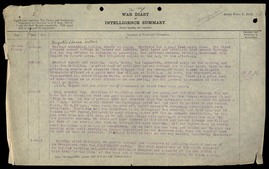 War Diaries of the 75th Battalion