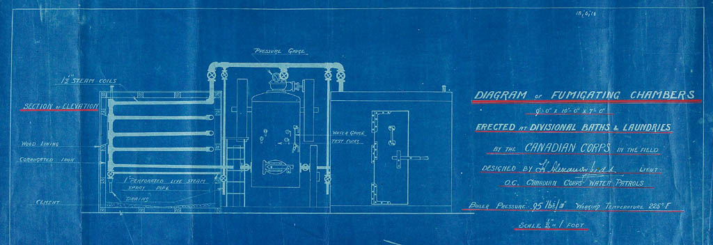 Blueprint for fumigation chambers.