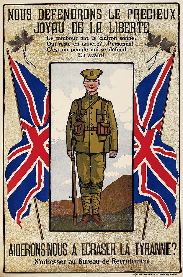 First World War recruitment poster entitled NOUS DEFENDRONS LE PRÉCIEUX JOYAU DE LA LIBERTÉ (We will defend the precious gem of Liberty) [Unofficial Translation], depicting a soldier flanked by two Union Jack flags, circa 1914-1918