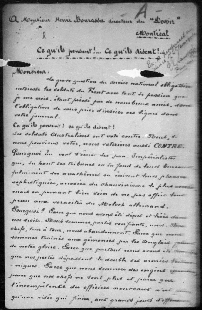 Letter to Bourassa