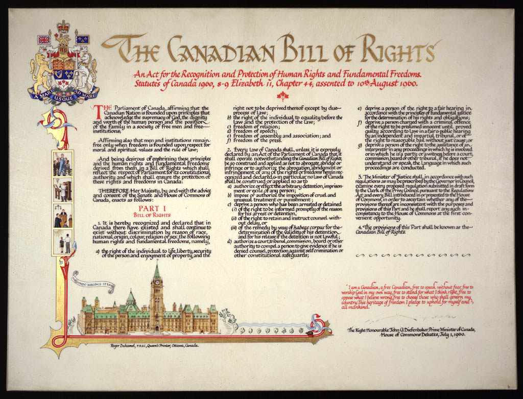 Illustrated text of the CANADIAN BILL OF RIGHTS, which committed the federal government to the recognition and protection of human rights and freedoms, signed by Prime Minister John Diefenbaker, July 1, 1960