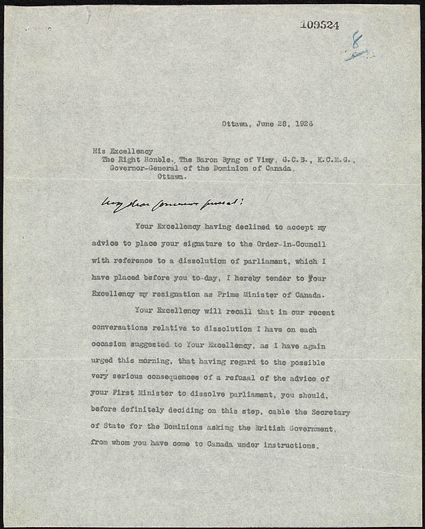 letter of resignation from prime minister king to governor general lord byng june 28